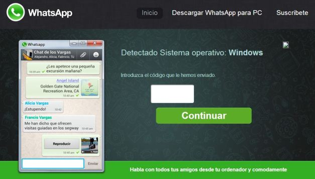 Whatsapp PC Introducir pin